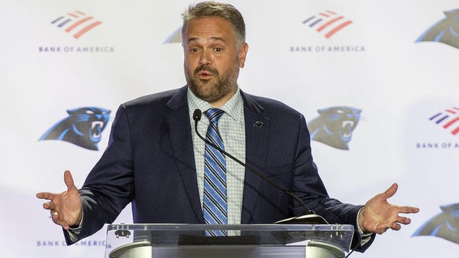 Carolina Panthers NFL football team new head coach Matt Rhule talks to the media during a news conference at the teams practice facility, Wednesday, Jan. 8, in Charlotte, N.C.