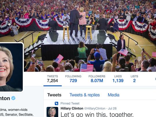 Hillary Clinton's Twitter page