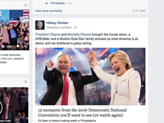 Hillary Clinton's Facebook page