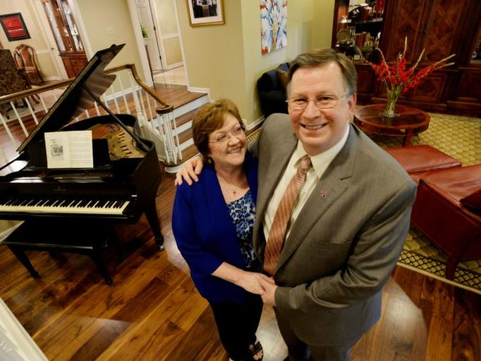 Louisiana Tech University president Les Guice and his wife Kathy stand inside the president's house on campus.