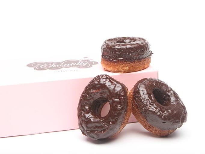 Chocolate frosted cream filling cronut from Chantilly Patisserie.