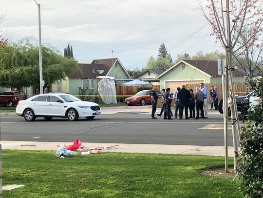 Tulare police investigate an officer-involved shooting near Tulare First Baptist church.