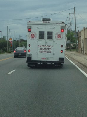Salvation Army food truck en route to storm-struck area of West Pensacola.