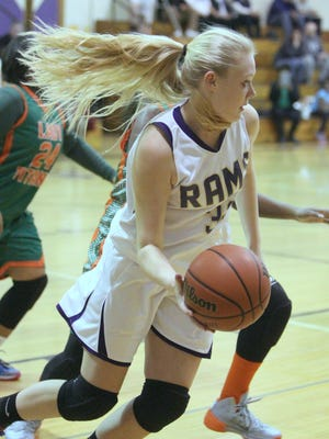 Clarkstown North's Erin Ryder during a game with East Ramapo at Clarkstown North on Monday. Clarkstown North won 48-38.