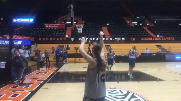 Macy Miller hits a 3 in practice Thursday.