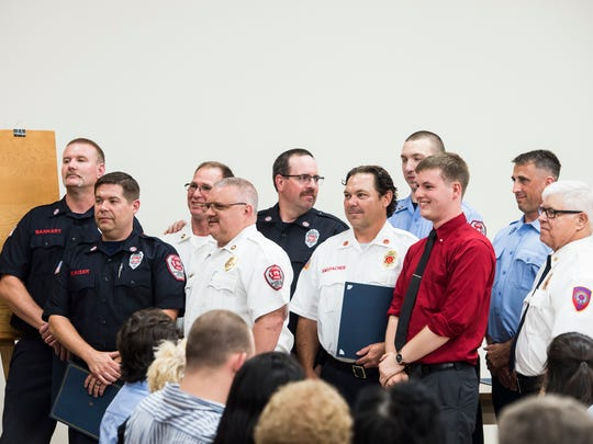 The Departmental Unit Citation Award is presented to firefighters during the Hanover Area Fire and Rescue commendation awards ceremony at the Penn Township Municipal Center on June 21, 2018.
