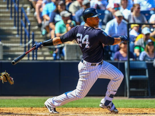 New York Yankees catcher Gary Sanchez (24) hits a two