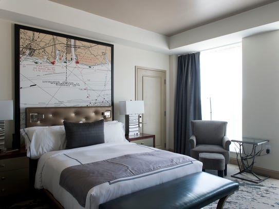 A guest room at The Tennessean hotel.