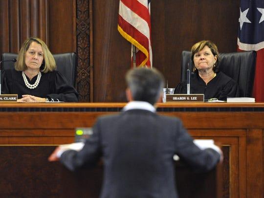 Tennessee Supreme Court Justice Cornelia Clark, left,