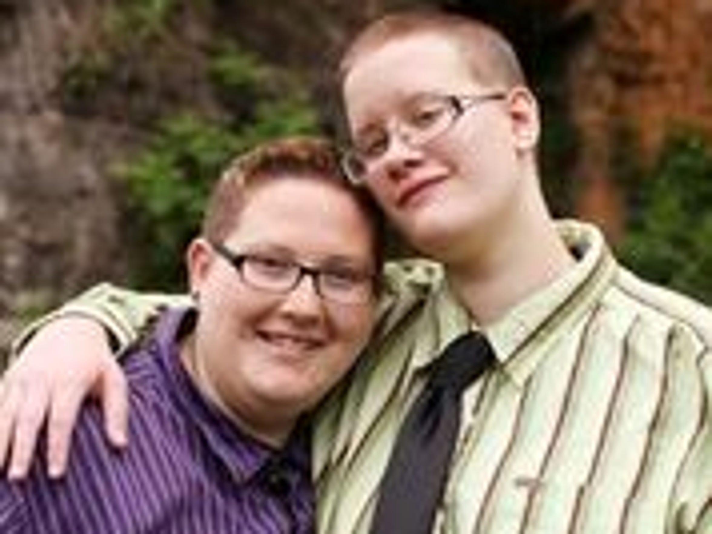 Sami and Ashlye Schwartz on their wedding day in Natural Chimneys Regional Park.