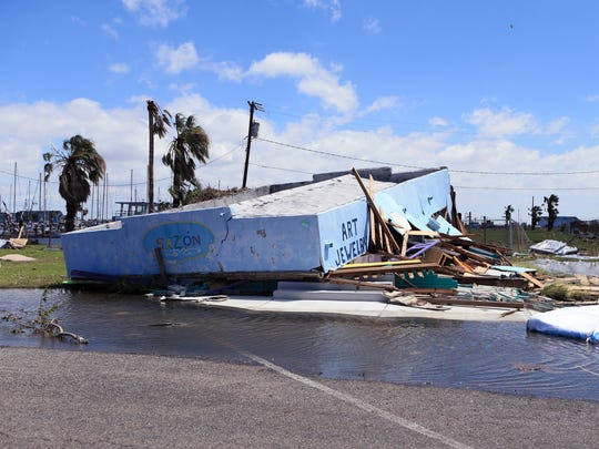 Businesses in downtown Rockport, TX have extensive damage as seen here on Tuesday, August 29, 2017, following Hurricane Harvey.