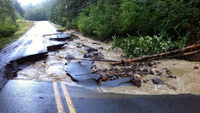 Weston-Andover Road in Chester after Monday night storm.