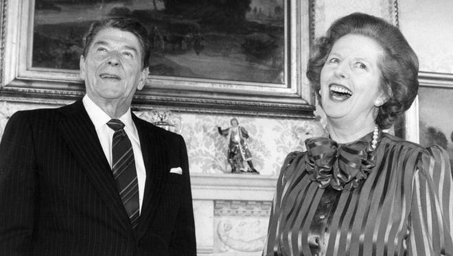 British prime minister Margaret Thatcher and President Ronald Reagan.