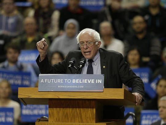 Democratic presidential candidate Bernie Sanders speaks during his campaign stop Friday at the Kress Events Center at UW-Green Bay.