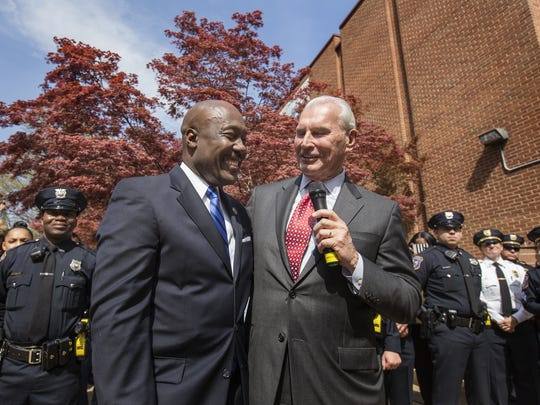 File photo: Former Wilmington Police Department Chief Bobby Cummings is honored by Mayor Mike Purzycki during a walkout ceremony outside the department in Wilmington on April 13.