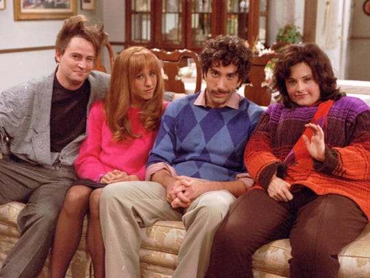 "Matthew Perry, Jennifer Aniston, David Schwimmer, Courteney Cox in ""Friends"" episode, ""The One with all the Thanksgivings."""