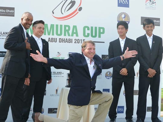 Team Guam is at the 2015 Nomura Cup in Abu Dhabi, United Arab Emirates. The team includes, from left, Daryl Poe, Brentt Salas, team captain Sam Teker, Devin Hua and Redge Camacho.