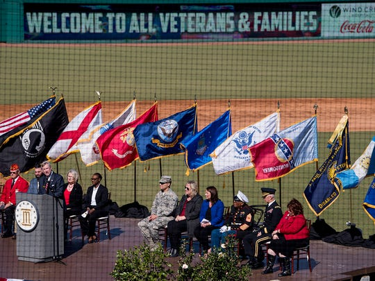 Mayor Todd Strange speaks as the City of Montgomery Veterans Day Celebration is held at Riverwalk Stadium in Montgomery, Ala. on Friday November 10, 2017.