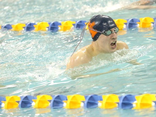Galion's Sam Rigdon competes in the 200 IM during Saturday's