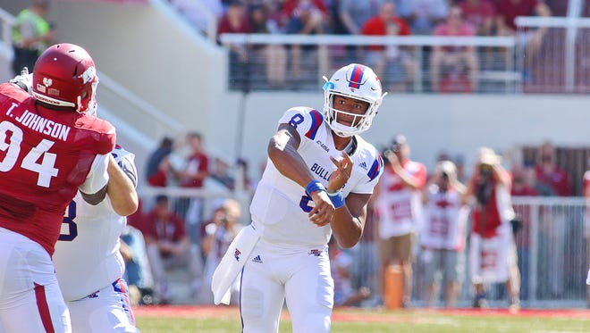 Louisiana Tech quarterback J'Mar Smith threw for 202 yards in Saturday's loss to Arkansas. He will backup Ryan Higgins for this weekend's home opener.