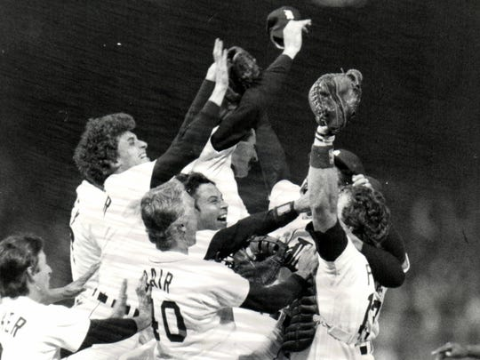The Detroit Tigers celebrate their victory over the San Diego Padres in the 1984 World Series.