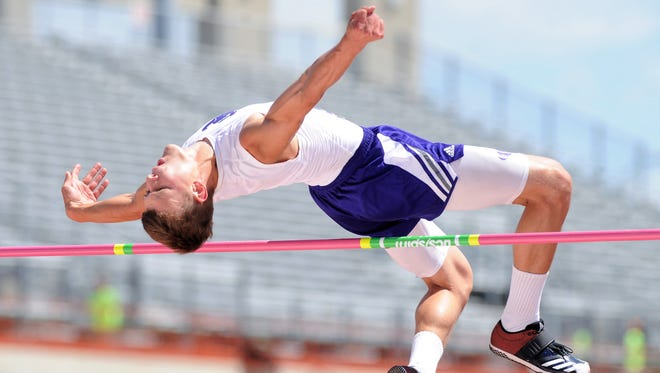 Cross Plains' Creed Goode clears the bar at 6 feet, 3 inches to win the Class 1A boys high jump at the UIL State Track and Field Championships at the University of Texas' Mike A. Myers Stadium in Austin on Friday. He also won the long jump.