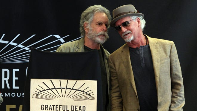 Bob Weir, Grateful Dead singer and guitarist, and Bill Kreutzmann, Grateful Dead drummer, attend the Grateful Dead's induction into the Madison Square Garden Walk of Fame at Madison Square Garden IN New York City, NY Monday May 11, 2015.  Staff photo Tanya Breen  ASB 0515 GRATEFUL DEAD