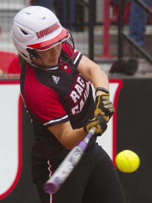 Ragin Cajuns' Haley Hayden hits a home run against the University of Central Arkansas Bears in the first inning at Lamson Park Feb. 21, 2016.