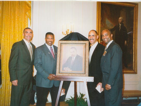 L-R: Herm Edwards, Dennis Green, Tony Dungy, Ray Anderson