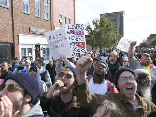 Counterprotesters in Murfreesboro, Tenn., on Saturday,