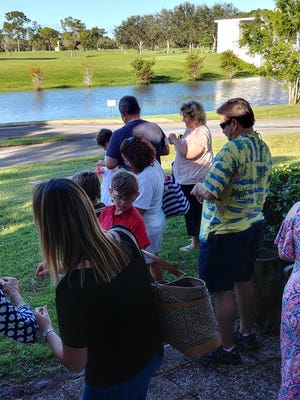 Parents, grandparents, siblings and friends gathered together for the bubble release, remembering all the babies gone too soon.