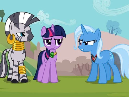Zecora (from left), Twilight Sparkle and Trixie in a 2012 episode ('Magic Duel') of 'My Little Pony: Friendship Is Magic.'