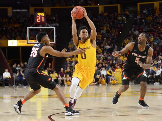 ASU guard Tra Holder drives by Pacific defenders in the Sun Devils' win on Friday.