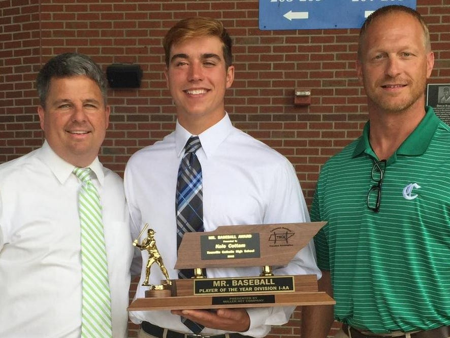 Cottam received the Mr. Baseball award on Tuesday.