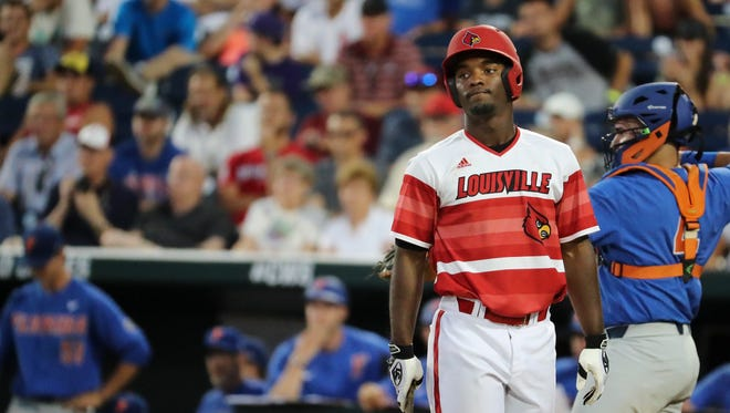 U of L's Josh Stowers (25) was stoic after getting his second strike against Florida during Game 8 of the College World Series in Omaha, Neb.  He eventually struck out which ended the game with Florida winning 5-1.June 20, 2017