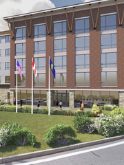 A 5-story, 105-unit hotel proposed for Burlington International Airport would sit at the airport's entrance, as seen in this rendering submitted by Rabideau Architects.