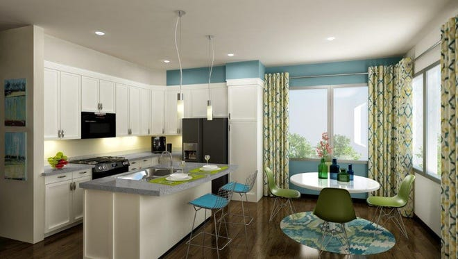 A rendering of the interior of a 62W apartment unit in Johnston.