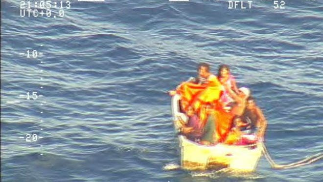 Video screengrab received from the New Zealand Defence Force shows the dinghy that was adrift at sea after a ferry carrying 50 that was reported missing in Kiribati waters over a week ago.