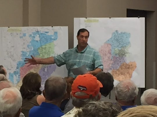 District 9 Lafayette City-Parish Councilman William Theriot discusses a proposed charter amendment at a town hall meeting July 23, 2018. Whether or not the amendment needs to be voted on again is being argued in court.