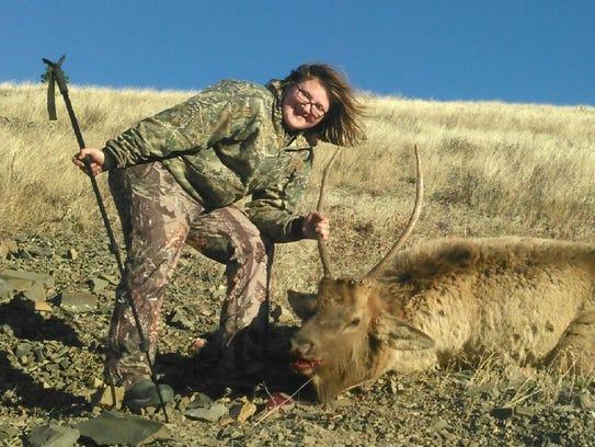 Jordan Ketcham with her spike elk.