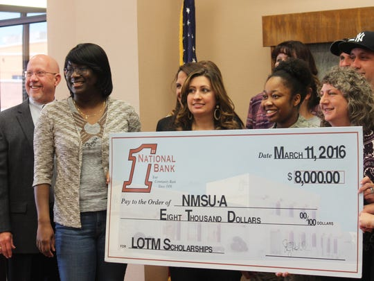 First National Bank raised $8,000 during the race for local college students. A committee from NMSU-A determined 16 students to give $500 scholarships to based on their financial need and essays.