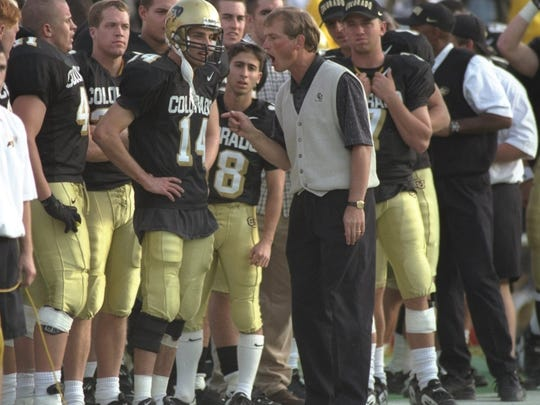 Colorado head coach Rick Neuheisel works the sidelines during a 1996 game against Iowa State in Boulder.