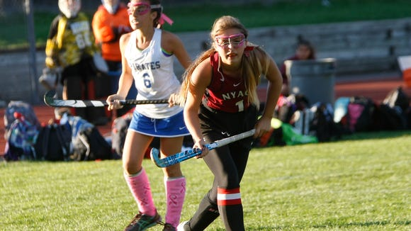 Nyack's Alyssa Varman (1) sets up a shot during a varsity