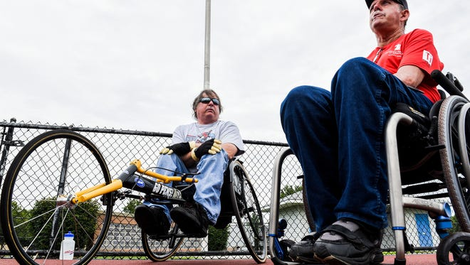 Chris Fidler and Dennis Haines talk about competing in the Veterans Wheelchair Games as they prepare for the upcoming 37th annual games in Cincinnati, OH on Thursday, July 13, 2017.