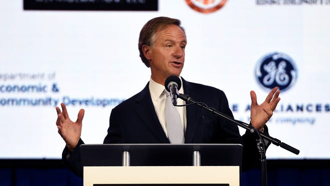 Governor Bill Haslam spoke to the employees at Monogram Refrigeration, LLC, in Selmer, Wednesday, May 2. The company has expanded their facility  and added over 200 new jobs to the city.
