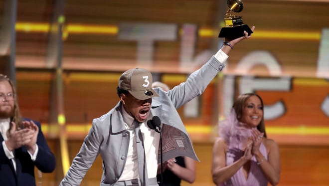 Chance The Rapper accepts the award for best new artist at the 59th annual Grammy Awards on Sunday, Feb. 12, 2017, in Los Angeles. (Photo by Matt Sayles/Invision/AP)