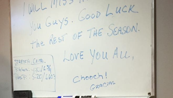 Carlos Ruiz left a message behind for his teammates to see Friday in the visitors' clubhouse at Citi Field. Ruiz was traded to the Dodgers on Thursday.