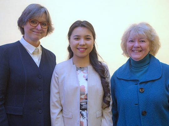 State Rep. Tina Pickett, right, joins Pennsylvania first lady Frances Wolf  and Towanda Area High School senior Ezoza Ismailova at the recent Poetry Out Loud state finals.
