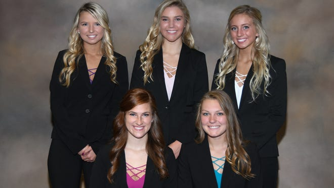 The Ontario High School Homecoming queen will be crowned at the Oct. 6 football game against River Valley. The homecoming court includes from left, front, Leah Gombosch and Faith Nigh; and back,Mackenzie Snow,Maddie Payne andLexi Augustine.