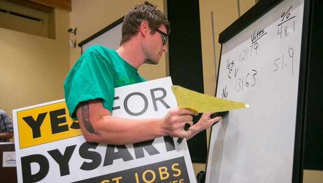 Un miembro del comité de voluntarios Adam Clausing anota los números del retorno de las boletas tempranas.
